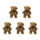 GOGO 5 Inch Stuffed Plush Teddy Bear, Coffee, Pack Of 5, Valentine's Gift Idea