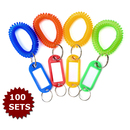 Aspire Key Tags and Wrist Coil Band Key Ring Chain, Assorted Colors 100 Sets