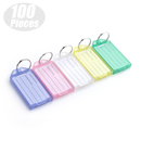 Aspire 100 PCS Key Tags Label Pocket Size Tag Key Ring Assorted Colors