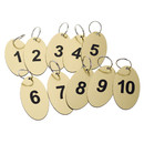 Aspire 20 PCS Key Fobs, Key Tags, Oval Black Engraved Numbers 1 to 20 for Hotel B&B Office
