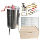 Good Land Bee Supply GLESUPERX2CTS1 Beekeeping Beehive Kit includes 2 Frame Manual Honey Extractor, Metal Queen Excluder, Frames, Foundations, Super Box & Spacer
