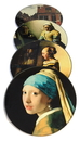 Parastone CS02VER Vermeer Paintings Glass Coasters Set of 4 with Storage Stand