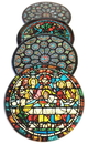 Parastone CS08CHA Chartres Cathedral Windows Glass Coasters Set of 4 with Storage Stand