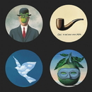 Parastone CS11MAG Magritte Surrealism Paintings Bar Drink Glass Coasters Set of 4