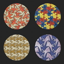 Parastone CS15ESC Escher Symmetry Birds Fish Geometric Bar Drink Glass Coasters Set of 4