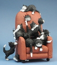 Parastone DUB68 Kittens on a Highback Chair Save Me a Seat by Dubout Figurine