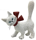 Parastone DUB72 Cat La Minette White So Cute with Red Bow and Tail Up Figurine by Dubout