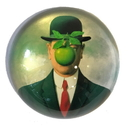 Parastone PMAG1 Bowler Hat Man Green Apple Art Glass Paperweight by Magritte