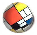 Parastone PMON1 Red Blue Yellow Modern Art Glass Paperweight by Mondrian