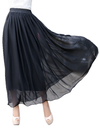 TOPTIE Women Chiffon Full Ankle Length Elastic Retro Maxi Skirt, 3-Layer Flow and Soft