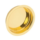 Ives 221 Flush Pull - Large Circle, Wrought Brass Substrate, 605 Bright Brass