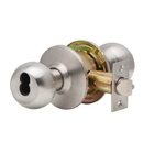 Dexter Commercial C2000 Ball Knob Keyed Entry Lockset, C2000 Series Keyed Entrance Function Lockset With Ball Knob In Brushed Stainless Steel, Small Format Interchangeable Core, Less Cylinder