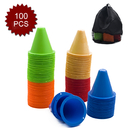 GOGO 100Pcs 3.1 Inches PVC Bright-Colored Slalom Cones for Skating Running Marker Mini Track