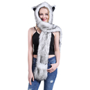 Animal Hat Hood Scarf with Paws Mittens Gloves Attached for Adults Kids Winter