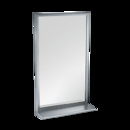 ASI  Roval Inter-Lok Stainless Steel Framed Mirrors – Plate Glass – With Shelf, Variable Sizes