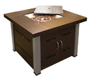 PrimeGlo GS-F-PCSS Hammered Bronze Square Fire Pit with Stainless Steel Legs and Lid