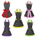 Aspire Kitchen Apron For Women Retro Polka Dots Cooking Aprons Cafe Working Aprons