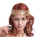 TOPTIE Wholesale Belly Dance Gypsy Jewelry, Gold Necklace / Headband & Earrings
