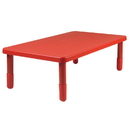 Angeles AB705PR16 Value Rectangle Table - Candy Apple Red with 16