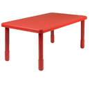 Angeles AB705PR22 Value Rectangle Table - Candy Apple Red with 22