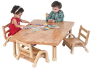 Angeles AB7810125 NaturalWood Collection Toddler Rectangle Table & Chair Set