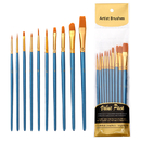 Muka 10pcs Paint Brush Set Nylon Hair Acrylic Watercolor Oil Painting for Face Nail Art Miniature Detailing & Rock Painting