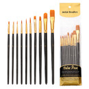 10 Pcs Nylon Hair Acrylic Art Paint Brushes Round Pointed Tip Paint Brush Set for Kids and Adults, Black