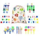 Muka 47 pcs Kids Paint Sponges Brushes Set Early Learning Washable Drawing Tools for Toddler