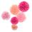 Aspire 36pcs Pink Pom Pom Paper Decorations, Tissue Flower Birthday Celebration Party Favors