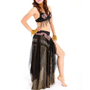 BellyLady Practice Belly Dance Costume, Tribal Bra, Waist Belt and Skirt Set