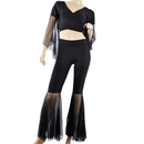 BellyLady Practice Belly Dancing Costume, Black Wrap Top And Mesh Pants Set