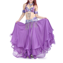 BellyLady 5-Pieces Professional Gypsy Trial Belly Dancing Costume, Purple Halter Belly Dance Bra & Belt Set, Dancing Accessories Included