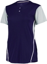 Russell Athletic 7R6X2X Ladies Performance Two-Button Color Block Jersey