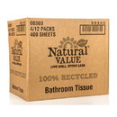 Natural Value Bath Tissue 400 ct Dbl Roll-Recycled, NF052