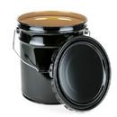 Basco 5 Gallon Steel Pail, Open Head, Lug Cover, Epoxy Lined - Black