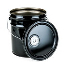 BASCO 5 Gallon Steel Pail and Lug Cover With FLEXSPOUT Opening - Black