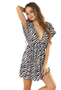 TopTie V-neck Beach Dress - Zebra Printed