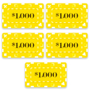Brybelly 5 Denominated Poker Plaques Yellow $1,000