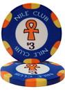 Brybelly Roll of 25 - $3 Nile Club 10 Gram Ceramic Poker Chip