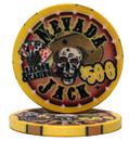 Brybelly Roll of 25 - $500 Nevada Jack 10 Gram Ceramic Poker Chip