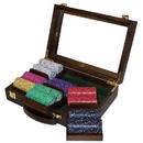 Brybelly 300 Ct Standard Breakout Scroll Poker Chip Set Walnut Case