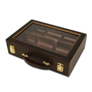 Brybelly 300 Ct Walnut Wooden Case w/ See Through Lid