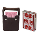 Brybelly Copag Hold 'Em Red Poker Size Peek Indx Deck w/ Leather Case