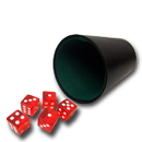 Brybelly 5 Red 16mm Dice with Plastic Cup