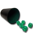 Brybelly 5 Green 16mm Dice with Plastic Cup
