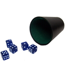 Brybelly 5 Blue 16mm Dice with Plastic Cup