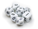 Brybelly 7 Die Polyhedral Dice Set in Velvet Pouch- Opaque White