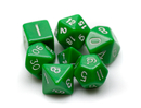 Brybelly 7 Die Polyhedral Dice Set in Velvet Pouch- Opaque Green