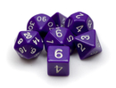 Brybelly 7 Die Polyhedral Dice Set in Velvet Pouch-Opaque Purple