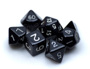Brybelly 7 Die Polyhedral Dice Set in Velvet Pouch- Opaque Black